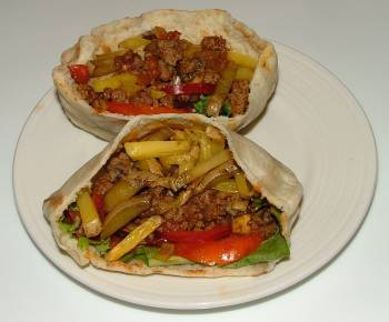 loose meat on pita